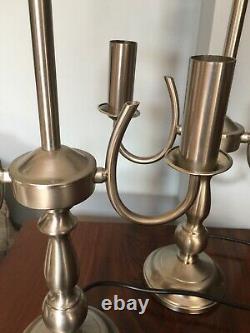 Paire Vintage De Lampes De Table Silver Double Candlestick Candelabra 21 Tall