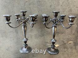 Paire Vintage De Poole 754 Grands Chandeliers En Argent Sterling 5 Bâtons
