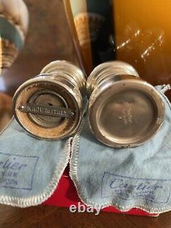Paire Vintage De Sel D'argent Sterling Cartier Italien Et Shakers De Poivre Pondérés