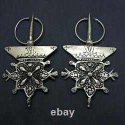 Paire Vintage De Tribal Moroccan Silver Tone Ethnic Fibula Pin Brooch Berbère 5.7