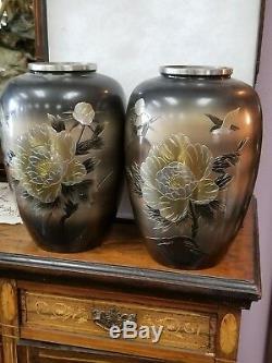 Paire Vintage De Vases Japonais Métal Mixte Or Argent Bronze Sculpté, Gravé Et Gravé