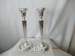 Paire Vintage Des Porteurs Sterling 10 Grand Candlestick Pondérées 4 Tulip Sided