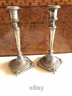 Paire Vintage En Argent Massif 9,5 Bougeoirs 473 Grams Italienne Clé Grecque