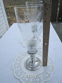Paire Vintage Gorham Sterling Silver Candle Stick Hurricane Holders Etched Glass Vintage Paire Gorham Sterling Silver Candle Stick Hurricane Holders Etched Glass Vintage Paire Gorham Sterling Silver Candle Stick Hurricane Holders Etched Glass Vintage Paire