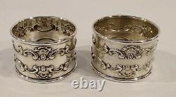 Paire Vintage Gorham Strasbourg Sterling Silver Napkin Rings Mg