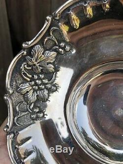 Paire Vintage Grec Sterling Bols En Argent Avec Pas De Scrap Repousse Conception De Raisin