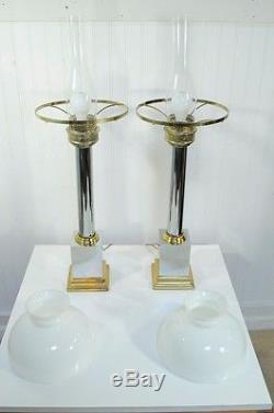 Paire Vintage Lustre & Colonne Chrome Néoclassique MID Century Modern Lampes De Table