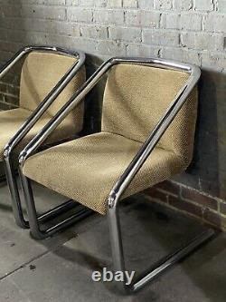 Paire Vintage MID Century Modern MCM Chrome Cantilever Tubular Chairs Canlever Can Ship