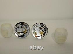 Paire Vintage Machine Age Deco Chrome Milk Glass Sconces Moe Original Wall Light