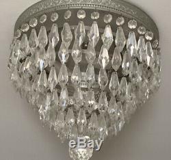Paire Vintage Mi-siècle Moderne Crystal Silvered Encastré Les Luminaires À Tubes Chandelier