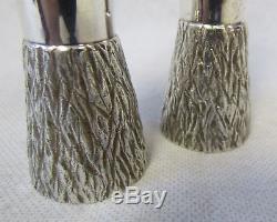 Paire Vintage Modernistes Gerald Benney Mappin & Webb Vases En Écorce Plaqués Argent