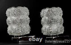 Paire Vintage Mur De Verre Milieu Du Siècle Et Chrome Lampes Design Ice Sconces
