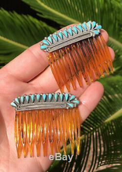 Paire Vintage Navajo En Argent Sterling Tear Drop Turquoise Peignes Set Barrette