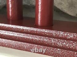 Paire Vintage Royal Style C7 Diplômé 7 Bougies Candelabra Rouge Argent