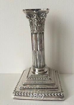 Paire Vintage Silver Corinthiennes Colonne Bougeoirs-meriden