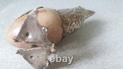 Paire Vintage Silver Plated / White Metal Marble / Onyx Egg Decorative Birds