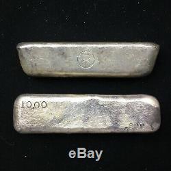 Paire Vintage Smm Sumitomo 10 Oz Vieux Poured Bar Argent. 999 Silver Japon