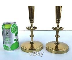 Paire Vintage Tommi Parzinger Laiton Bougeoir Dorlyn Argent Smith Candlestick