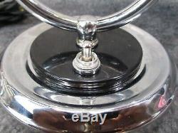 Paire Vtg 1930 Deskey Rohde Ère Machine Âge Art Déco Chrome Lampes Renovee