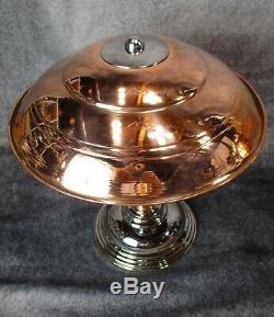 Paire Vtg 1930 Machine Age Art Déco Chrome Et Cuivre Bureau / Lampes De Table Restaurer