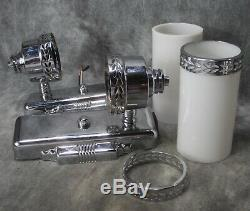 Paire Vtg 1930's Appliques Cylindre Verre Laiton Art Déco Machine Age Chrome Restored