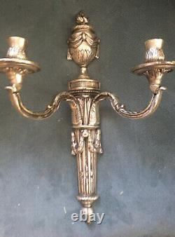 Paire Vtg (2) Double Candle Holder Neoclassical Light Wall Sconces Italie 15.5