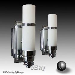 Paire Vtg Art 1930 Extreme Machine Age Déco Sconces Cylindre Restaurer
