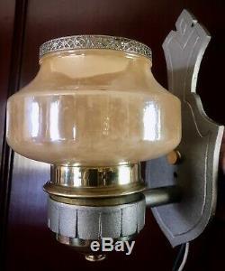 Paire Vtg Art Déco Slip Chrome Et Aluminium Ombre Sconces1934 Restaurer