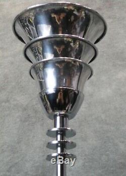 Paire Vtg Époque Kent Epoque Machine Art Déco Lampes Torchères À Anneaux V. 1934 Restauré