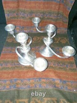 Paire Vtg Gorham Sterling Silver Puritan Style Candelabra Candlesticks Free Ship