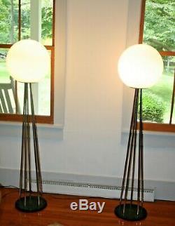 Paire Vtg MID Century Modern Glass Chrome Globe Lampadaire Attrib Sonneman Rare