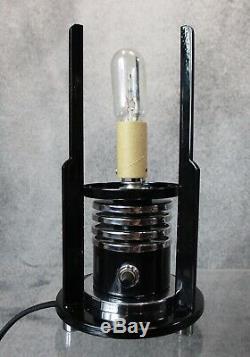Paire Vtg Machine Age Art Déco 1930 Chrome & Cylindre Noir Lampes Restaurer