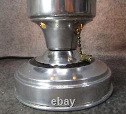 Paire Vtg Machine Age Art Déco Speed Ring Aluminium Budoir Lampes C. 1935
