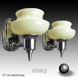 Paire Vtg Machine Age Deco Chrome Sconces Withuranium Slip Shades C. 1936 Restauré
