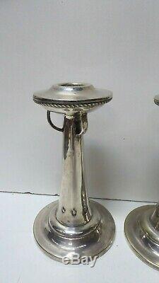 Plate Silver Vintage Arts Crafts Nouveau Secessionist Paire Bougie Bâtons