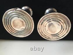 Porte-chandeliers À Poinçonné Vintage Pair Weighted Sterling Avec Attrape-cire