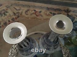 Rare Pair Vintage Collier Argenté Décanters C J Vander 15 Marchioness Hobbail