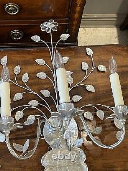 Rare Pair Vintage Maison Baguès Argent Gilt Crystal Deux Bras Jansen Scons