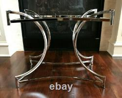 Rare Paire De Vintage Mi-century Milo Baughman Style Chrome Bases De Table Latérale