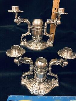 Rare Paire Vintage Pewter Dragon Chinois Candélabres Bougeoirs Bougeoir