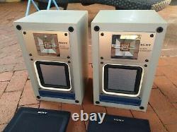 Rare Vintage 1981 Sony Ss-x300 Paire De Haut-parleurs De Bibliothèque Carré À Diaphragme Plat