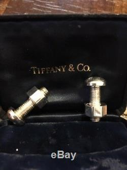 Rare Vintage Pair Tiffany & Co Boutons De Manchette En Argent Sterling Avec Écrou Et Boulon