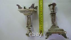 Rare Vintage Pure Silver 999 Paire De Beaux Supports De Bâton De Bougie