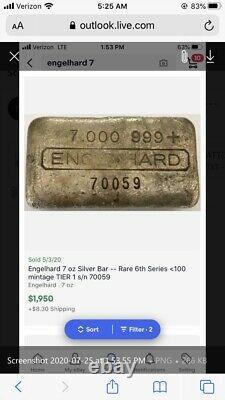 Rare Vintage Séquentiel Engelhard 7 Oz Collector Argent Bars Paire Sur Ebay