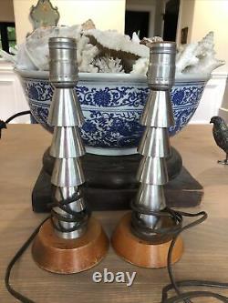 Retro Vintage Antique Art Déco Machine Age Aluminium Paire Lampes De Table