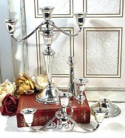 Rogers Sterling Silver Candelabra 3 Arm Vintage Candle Porte Une Paire