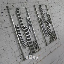 Saguaro Cactus Window Grills Paire D'aluminium Vintage Fonte