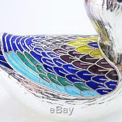 Serveuses À Condiments Cloissone Ducks, Vintage Korean 900 Silver