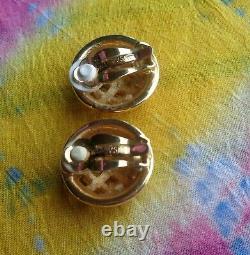 Signé Swarovski Swan Vintage Lot 3 Paire Clip Boucles D'oreilles Crystal Silver Gold Tone