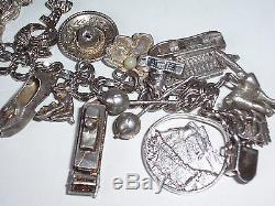 Silver Charm Bracelet Vintage Sterling Autour Du Monde 24 Charms Sterling Brace